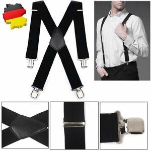 DE Herren Hosenträger mit 4 Clips 50mm Extra Breit X-Form Hosen starken Versch
