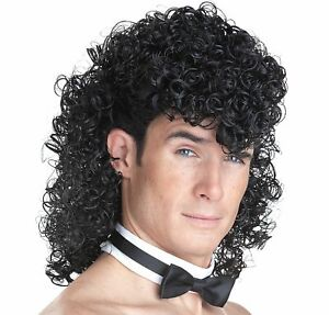 Mens Girls Night Out Curly Black Wig Set Includes Wig Cap Wig Collar Funny 80s