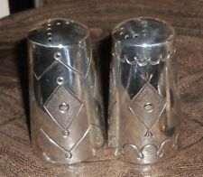 of Sterling Silver Salt and Pepper Shakers 60s or 70s Heavy Navajo Ivan Kee Set