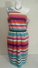 NWT LONDON TIMES Women's Striped Belted One Shoulder Dress Size 14
