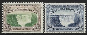 STAMPS-SOUTHERN RHODESIA. 1932. Victoria Falls Set. SG: 29/30. Mint Hinged.
