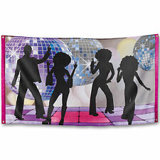 1.5m Groovy 70's Disco Fever Dancers Birthday Party Fabric Flag Decoration