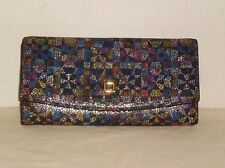 Lodis Envelope Wallet w/Removable Card Holder Multi Color Printed Leather NWOT