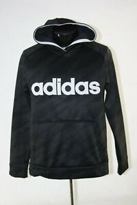 Adidas Hoodie Sweat Shirt Youth XL Adult Small SPELL OUT Black Pull Over