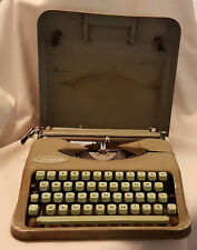 Vintage Hermes Baby Travel Typewriter in Mint Green with Case in Good Condition