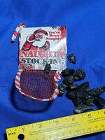 1984 Xmas Naughty Stocking Santa Genuine American Coal Viiglo Mesh Hanging VTG
