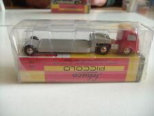 ,Schuco Piccolo Mercedes Flat Bed Semi Truck in Red/grey in Box