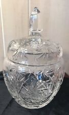 """Crystal Glass Large Cookie Cracker Jar with Lid Pinwheels 6.5"""" Tall"""
