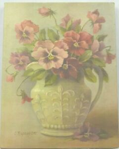 Vintage 1997 Christie Repasy Pansy Bouquet in Pitcher,  Giclee on Canvas