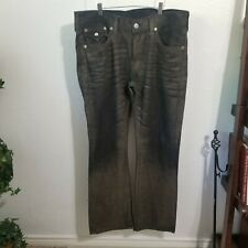 True Religion Men 36x32 Brown Acrylic Wash over Blac Relax Fit Straight Leg Jean