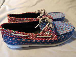 New Men Vineyard Vines Sperry Top-Sider Flag Whale Canvas Boat Shoes Size 11