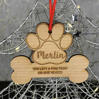 Personalised Christmas Tree Dog Bone Memorial Decoration Xmas Ornament Bauble