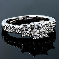 2 CT Diamond Engagement Ring Princess Cut D/VS2 14K White Gold Enhanced