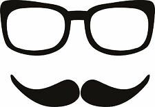 Glasses and Moustache Mustach Specs Sticker Decal Graphic Vinyl Label Back V1