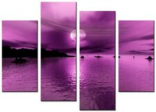 4 PANEL TOTAL SIZE 90x70cm  ART ABSTRACT PICTURE PRINT MOUNTED 6AM Plum
