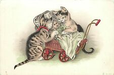 Early PC Anthropomorphic Cats Play with Doll in Pram Illustration No 647 France