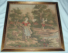 Antique Needlepoint Petit Point Victorian Lady Boy Boat Tapestry Art River Sheep