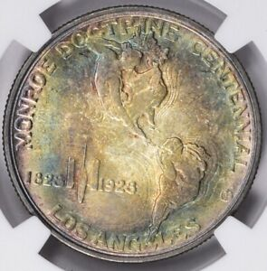 1923-S Monroe Doctrine Silver Commemorative Half NGC MS63 Toned Dual Sided