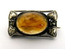 Vintage sterling silver Amber Brooch with leaves