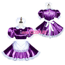 lockable purple Satin Sissy french Maid dress Male Tailor-made [G3815]