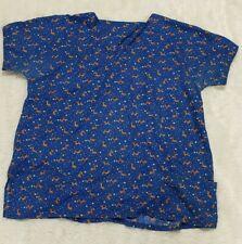 Women's Christmas Scrub Top Shirt Plus Size 3X Rudolph Holiday Handmade Vguc