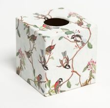 Bird Song Tissue Box Cover wooden handmade decoupaged in UK