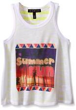 Derek Heart Girls' Big Scoop Nk Shirttail Tank Top, Lemon/Standard White, Medium