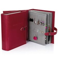 Red Faux Leather Little Book of Jewellery Earrings for Travelling (48 Pr. Studs)