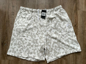 Nike Sportswear men's club camo fleece shorts white grey Sz 4XL-Tall DA0057-121