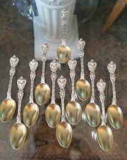 12 Pcs Whiting King Edward Sterling Silver Demitasse Spoons w/ Gold Bowls