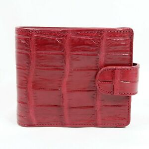New Red Real Crocodile Leather Belly skin Unisex Strap Bi-fold Wallet.