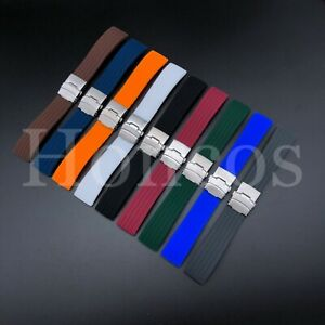 18-24 MM Color Silicone Rubber Watch Band Strap Deployment Clasp Fits Tag Heuer