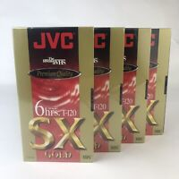 4 JVC Premium Quality SX-Gold VHS Tape 6 Hours Recording T-120 Blank Sealed