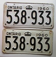 Ontario 1960 License Plate NICE QUALITY PAIR # 538-933