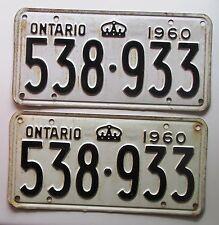 Ontario 1960 License Plate NICE QUALITY PAIR # 538-933