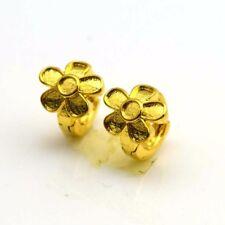 24k Yellow Gold Filled Earrings 11Mm Flower Mini Hoop Charm Gf Fashion Jewelry