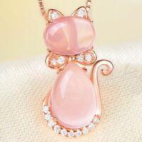 925 Sterling Silber Halskette Schöne Rose Katze Anhänger Damen Schmuck Geschenk.