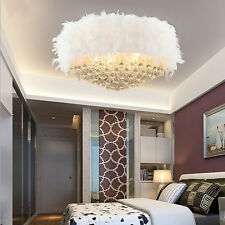Home Crystal Chandelier Pendant Lamp Round Shade Covered in White Feathers New