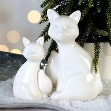 Weihnachtsdeko Fuchs 2er Set Porzellan links Höhe 13 und 9 cm