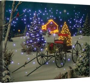 Midnight Singers Christmas Wagon Barn Fiber Optic Canvas Wall Hanging w/Remote