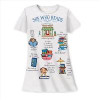 She Who Reads Cannot Pass a Bookstore Sleepshirt White Cotton