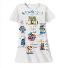 She Who Reads Cannot Pass a Bookstore Sleepshirt White Cotton