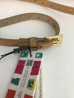 """ADA Collection """"Dotty"""" Camel Skinny Leather Belt NWT One Size Fits Most"""