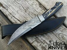 BEAUTIFUL HANDMADE DAMASCUS STEEL HUNTING KNIFE G10 HANDLE CUSTOM LEATHER SHEATH