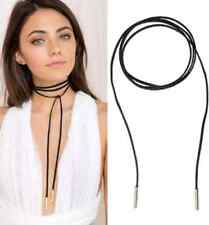 5mm GOLD Tube Black Faux Suede Cord String Wrap Bolo Tie Lariat Choker Necklace
