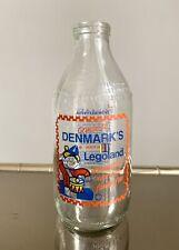 More details for vintage glass milk bottle with advert / legoland denmark, lego / 1980's