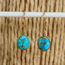14k Gold Filled Blue Copper Turquoise Drop Earrings 8 x 10mm Gift Boxed
