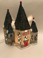 Prellique Kringle Toy Mfg Christmas Castle Porcelain 8x3x9