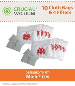 10 Replacements Miele FJM Deluxe Cloth Bags & 2 Filters Part # 7291640