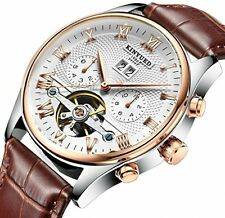 Tourbillon Automatic Men Classic Rose Gold Leather Mechanical Watch
